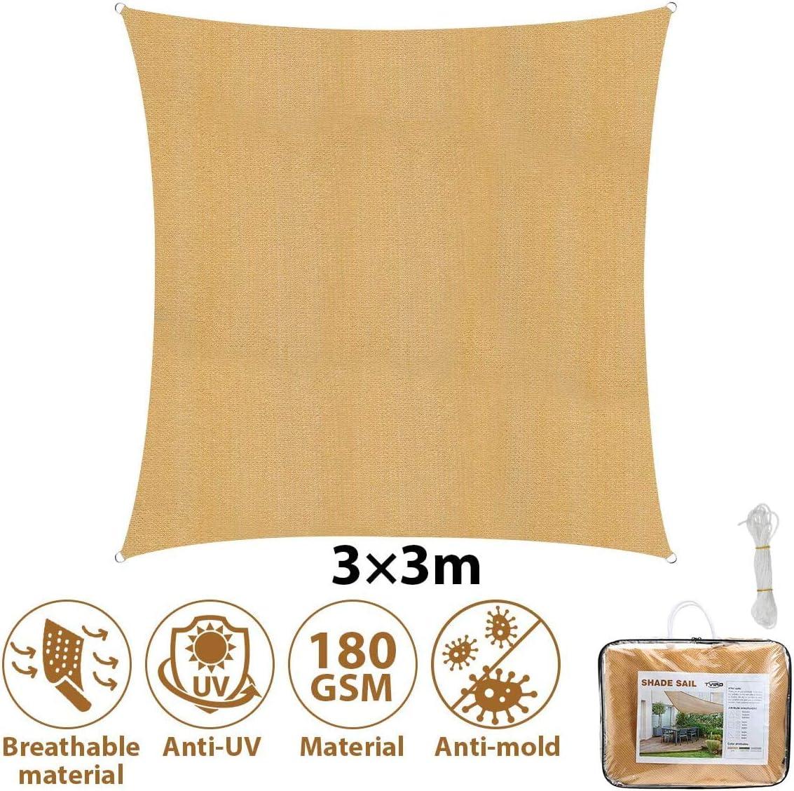 Sonnensegel Sonnenschutz rechteckige Sonnensegel 3x3 UV-Schutz mit 4 Befestigungsseile