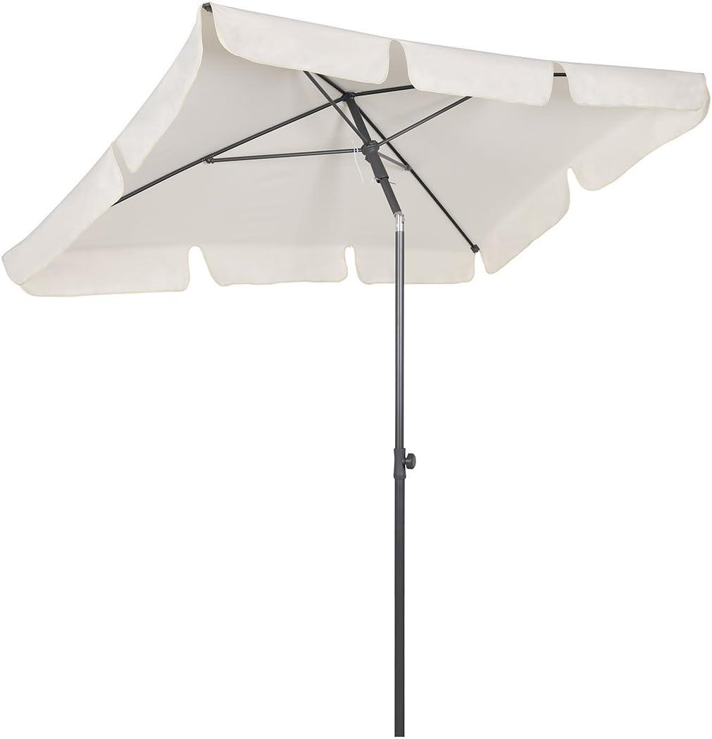200 × 125 cm Sonnenschirm Marktschirm Sonnenschutz UV 50+ Creme Rechteckig